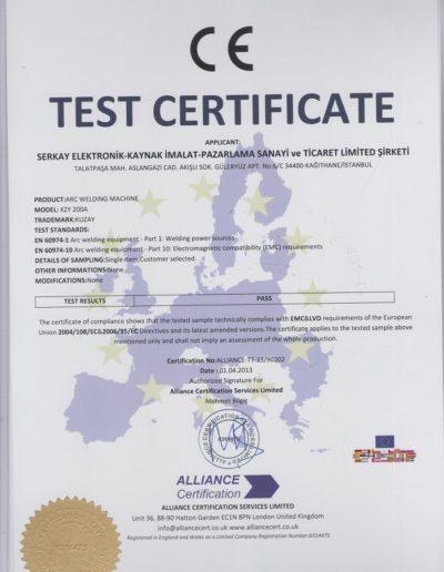 TURKWELD-INVERTER-KAYNAK-MAKİNASI-CE EMC&LVD-TEST-BELGESİ